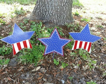Set of 3 Patriotic Star Decorations, 4th of July Decor, Outdoor Patriotic Decorations, Patriotic Decor, Americana Yard Art, Independence Day
