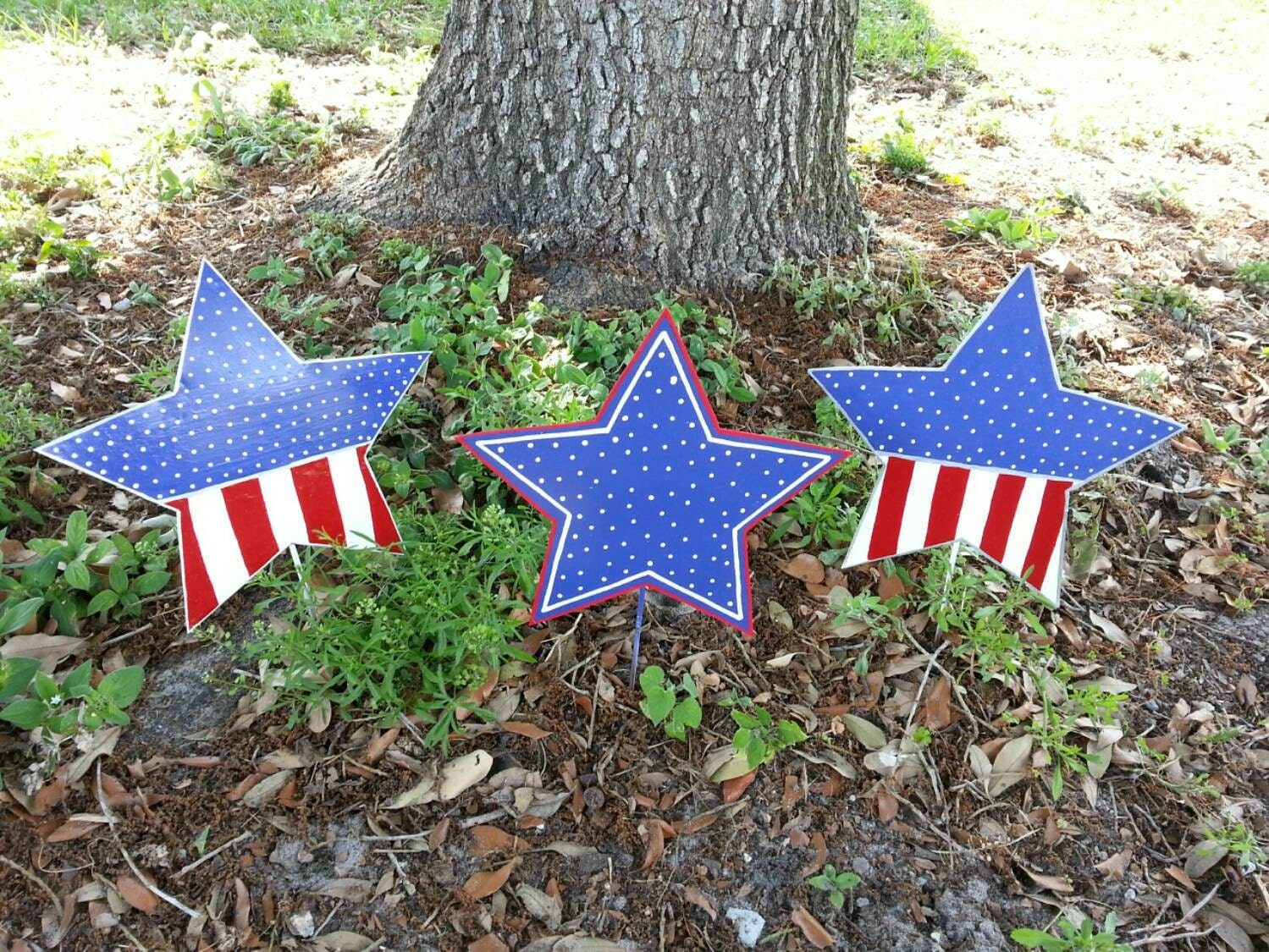 Set Of 3 Patriotic Star Decorations 4th Of July Decor