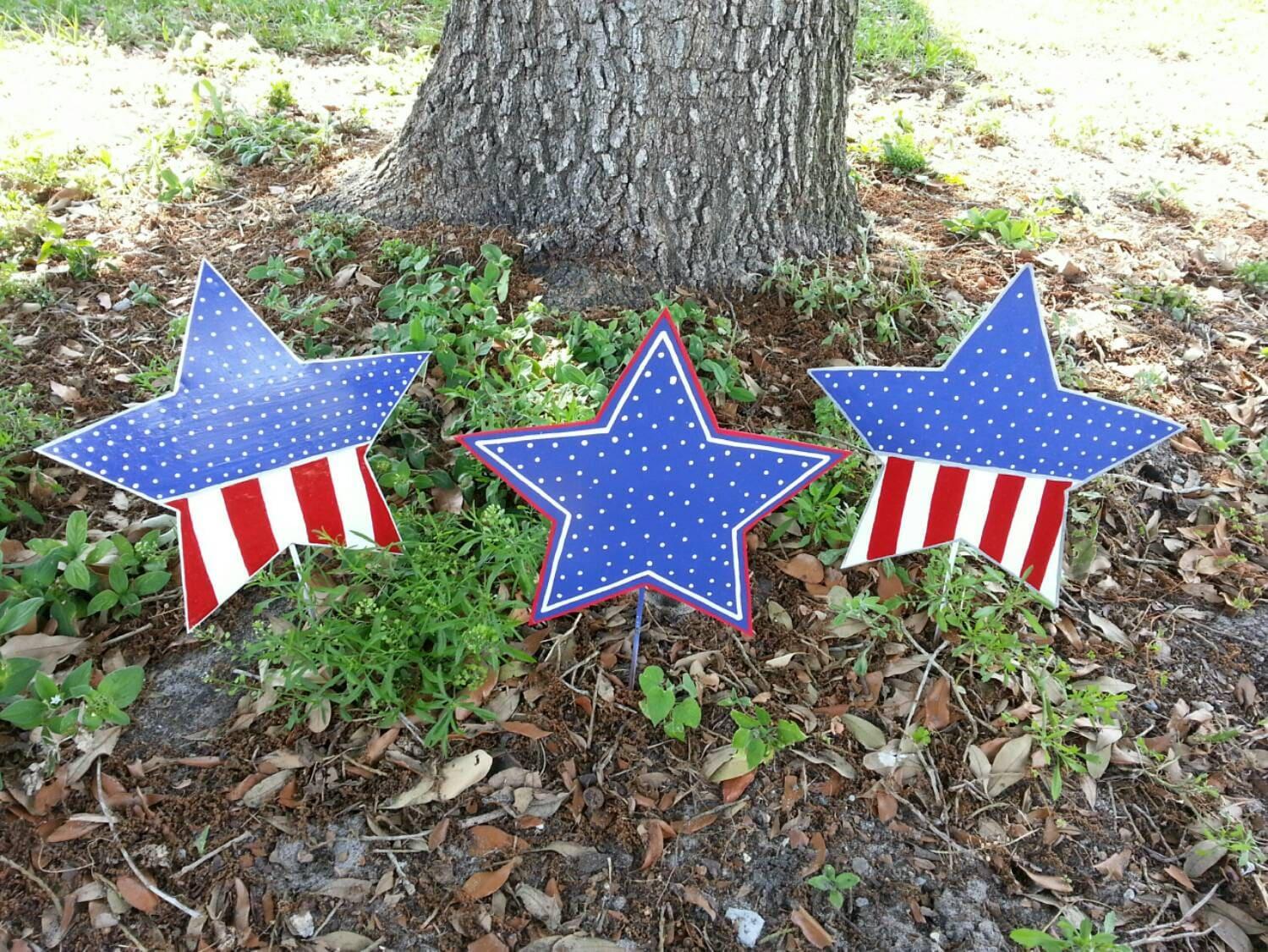 Set Of 3 Patriotic Star Decorations 4th Of July Decor