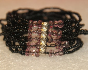 A2 Black and Amethyst Multi Strand Beaded Strech Bracelet