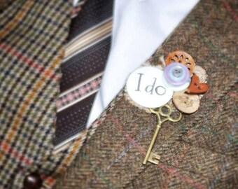 Vintage Key 'I DO' Key to my Heart Bespoke Alternative Buttonhole