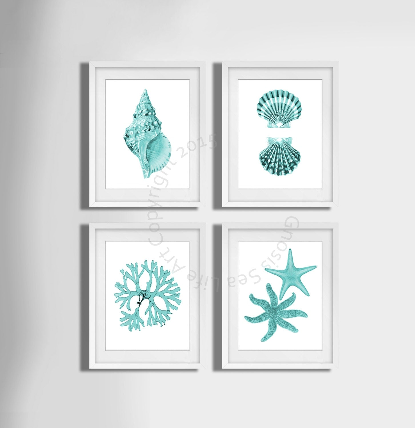 Turquoise wall art set of 4 beach decor seashells seaweed for Turquoise wall decor