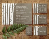 Western Birch Tree Wedding Invitation Set/Suite, Printed/Printable Wedding Invitations/Invites, Save the date, Thank You Cards, Digital/PDF