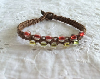 Hemp Bracelet with Multi-Colored Beads