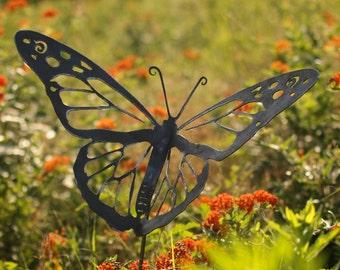 Metal Garden Art   Natural Steel   Garden Art   Monarch Butterfly Garden  Stake (Small