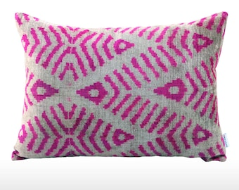 Velvet Ikat Pillow: Coral