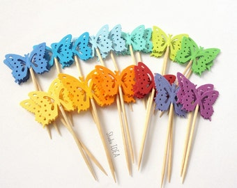 24 double sided Rainbow Assorted Monarch Butterfly Cupcake Toppers, Food Picks-Set of 24 pcs