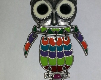 Multicoloured Owl Necklace on Black Chain
