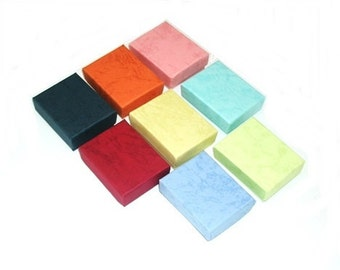 """20 Pastel Colors Cotton Filled Jewelry Packaging Craft Gift 2 Piece Boxes 3 1/4"""" x 2"""" x 1"""""""
