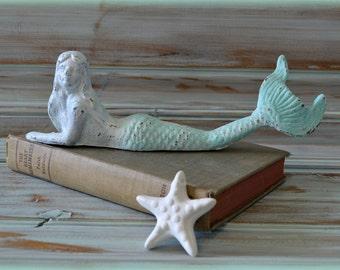 Cast Iron MERMAID, Vintage Style, Beach Decor, Nautical Decor,Cottage Chic, Nursery decor, Kids Decor, Nautical Bathroom
