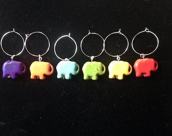 Elephant Wine Glass Charms Set of 6