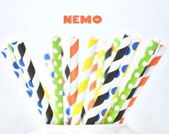 24 Piece Paper Straws Vintage Polka Dot  Finding Nemo Disney Party Supplies 4 Styles Birthday party Boys Girls Drinking Straws
