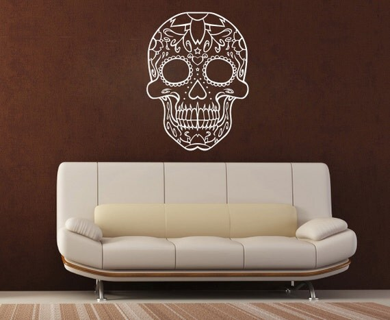 Large outlined sugar candy skull tribal wall art decal mural for Candy wall mural