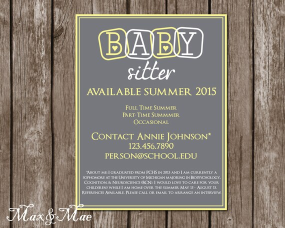 Babysitting Flyer Babysitting Announcement Personalized