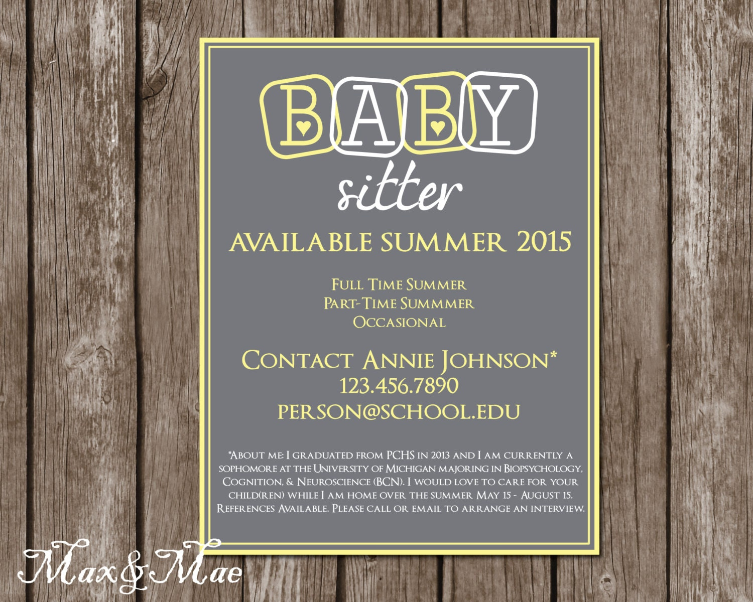 babysitting babysitting flyer babysitting announcement personalized babysitting sign digital file