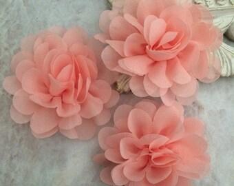 Petite peach chiffon flower, chiffon flower, flower puff, material flower, headband flower, DIY supplies, fabric flower, light coral