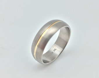 Men's Titanium Ring with 18k Gold Inlay // Various Sizes Available