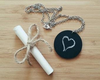 Chalk Board Necklace - Black Board, Teacher Gift, Thank You Teacher, School, Wedding Favor, Party Favor, Thank You Gift