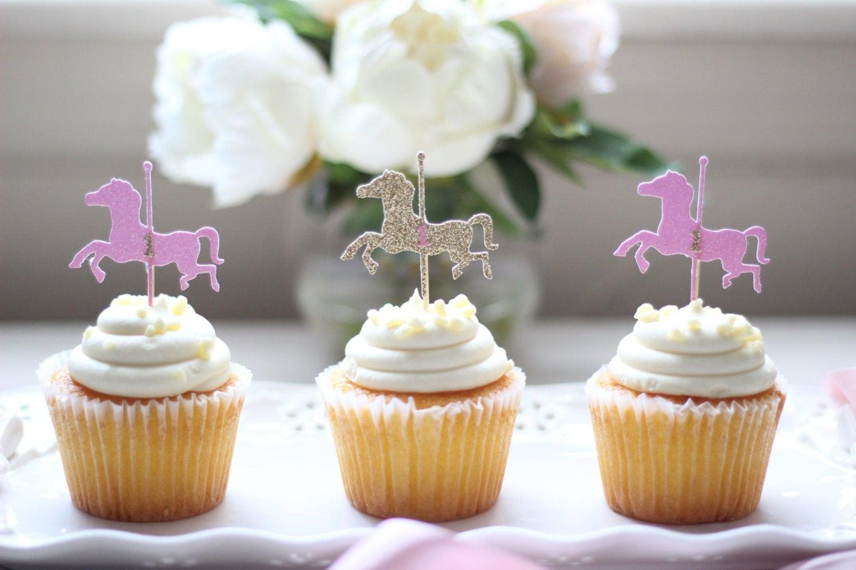 Custom Glittered Carousel /Horse Cupcake Topper 12