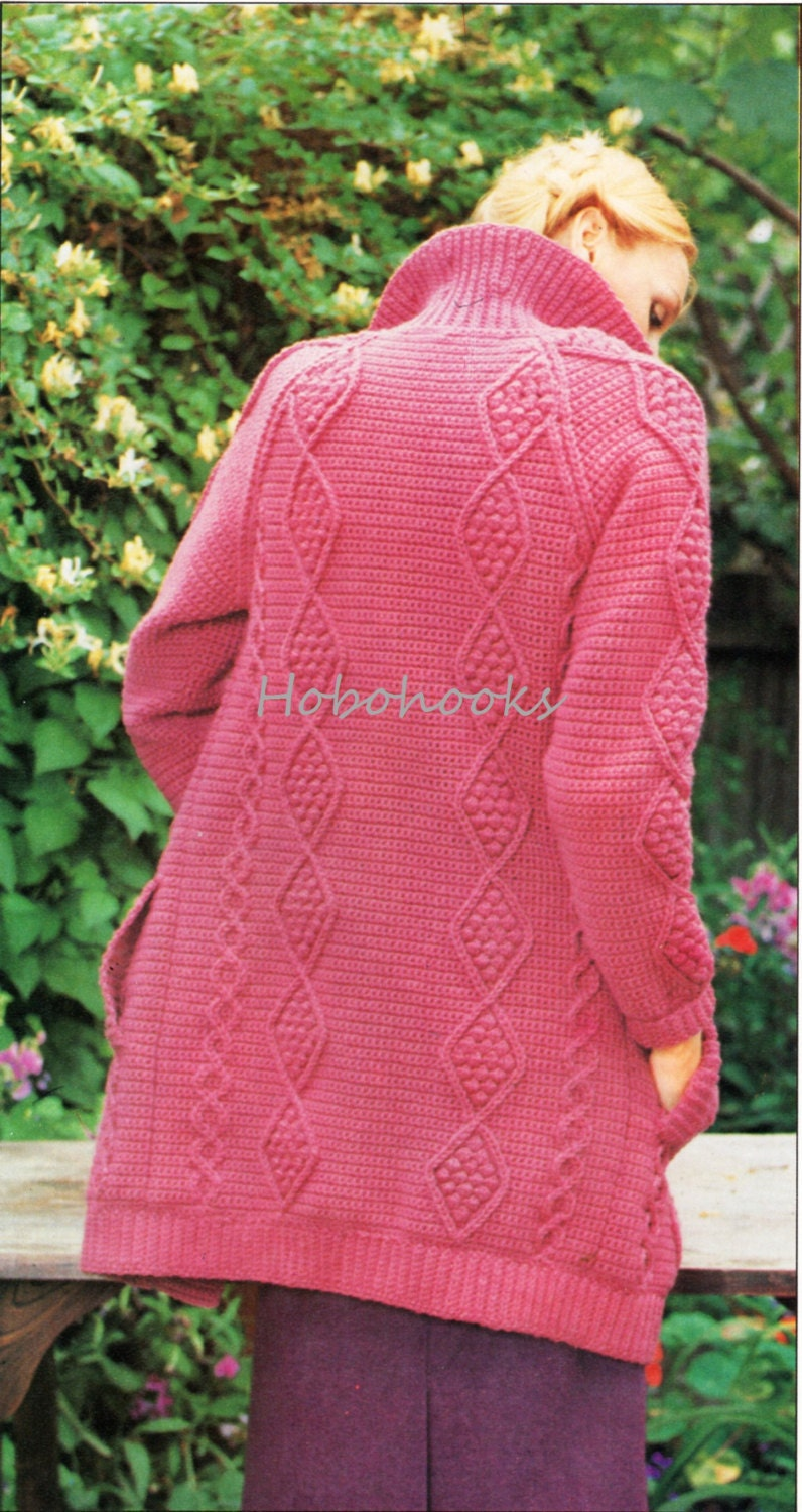 Crochet Patterns Ladies : Womens CROCHET Pattern Ladies Aran Style Cardigan Aran Jacket