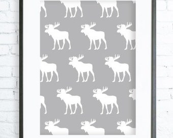 Gray Moose Pattern, Instant Download Printable, Christmas  printable art, Print Art, Moose Wall Decor, Moose Art Print