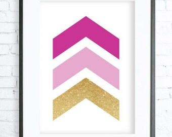Pink Wall Print, Geometric Print Art, Pink Art,Pink Decor, digital print, printable Pink Chevron, Gift for Her