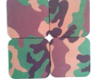 Set Of Four Rubber Camouflage Coasters, Drink Coasters, Camouflage, Army Coasters, Made By Mod.