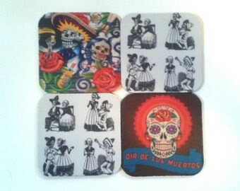 Set Of Four Rubber  Day Of The Dead Coasters. Made By Mod.