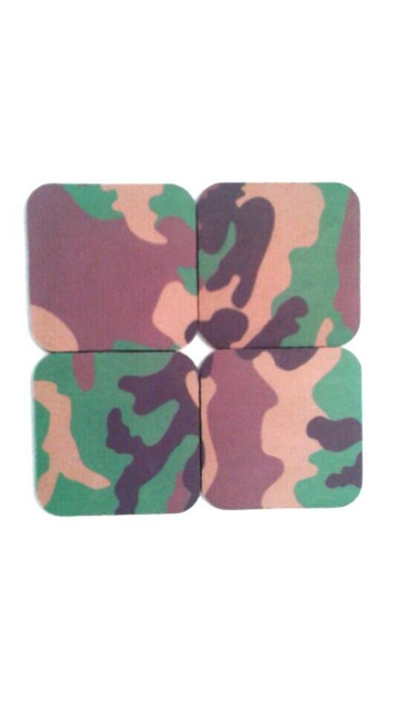 Set Of Four Rubber Camouflage Coasters Drink Coasters