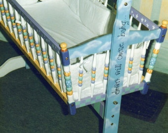 enchanted hand painted baby cradle, hand painted baby furniture