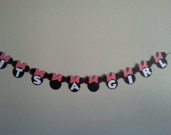 Minnie Mouse ''Its A Girl'' or'' Welcome Baby'' Banner. Can Be Personalized with Name. Free Shipping USA