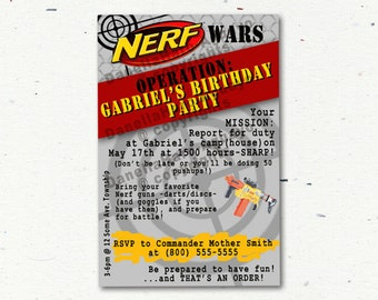 NERF GUN Party Invitations – Digital file