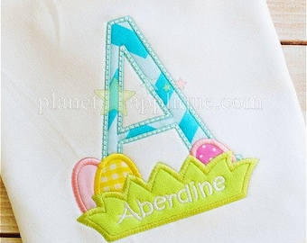 SAMPLE SALE: Appliqued Letter with Easter Eggs on Tshirt or Bodysuit, Free Shipping
