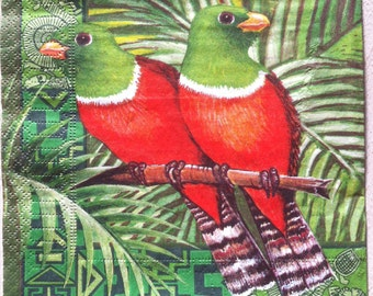 Paper napkin for mixed media, collage, scrapbook, decoupage x 1 Parrots