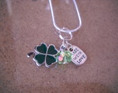 Clover Charm Necklace- St. Patrick's Day Necklace- Shamrock Necklace-Green Leaf Necklace- Made with Love Jewelry
