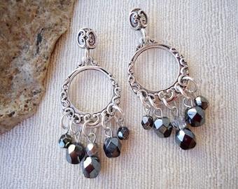 Silver Hoop Dangle Earrings.Black Crystal.Metal plated in Sterling Silver.Statement.Chandelier.Bridal.Valentine.Mother's.Birthday. Handmade.