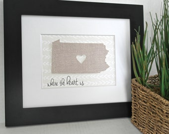 Custom State Art, Custom State Prints, Home State Art, Home State Print, State Gifts, Custom Home Decor, Home Is Where The Heart Is