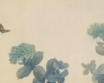 Hydrangeas by Hishida Shunso Home Decor Wall Decor Giclee Art Print Poster A4 A3 A2 Large Print FLAT RATE SHIPPING
