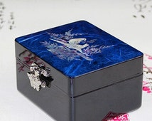Mother of Pearl Lacquer Wood Jewelry Box Cosmetic Box Wedding Gifts Birthday Gift Christmas Gift with Magpies