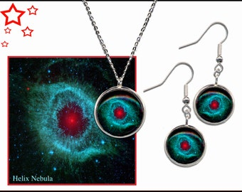 Helix Nebula Pendant and Earrings gift set with descriptive quality photo card.