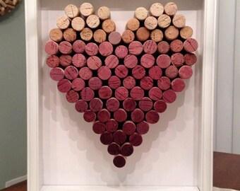 Ombre Wine Cork Heart Shadowbox