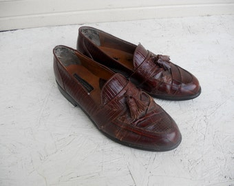 Vintage Men's Brown Snakeskin Tassle Loafer Dress Shoes 9 M FREE SHIPPING