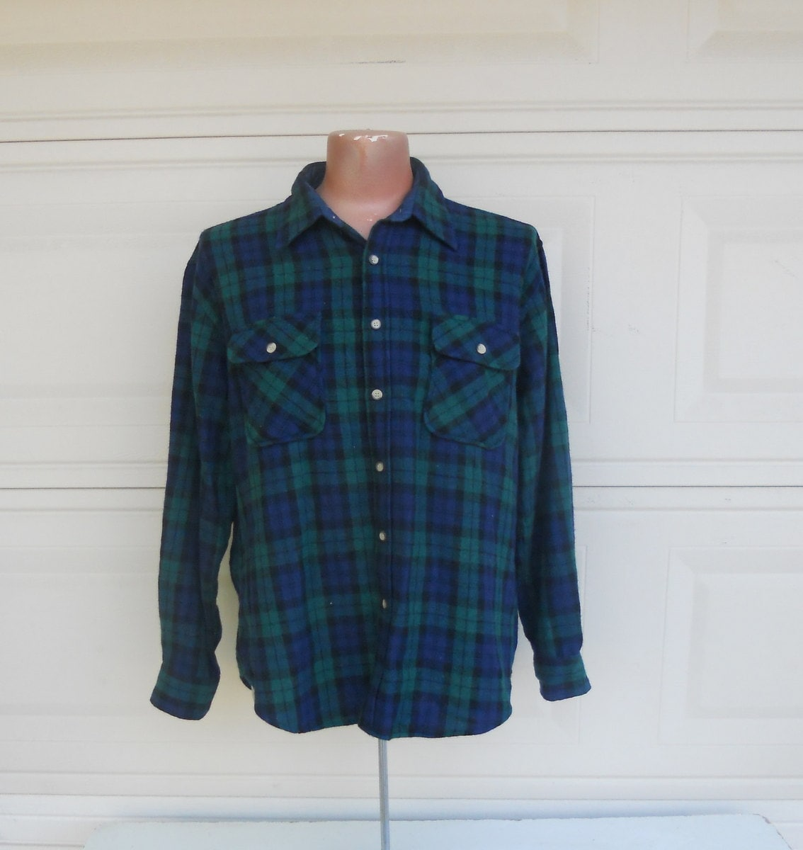 vintage wool flannel shirt oversized navy blue and green