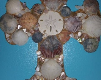 Sand Dollar and Sea Shell Cross for Wall.