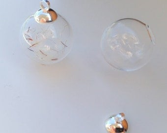 Hollow bead glass globe 16 mm 2 piece with Cap