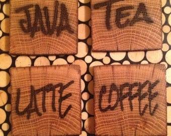 Vintage reclaimed barnwood coasters (set of 4 Java, Coffee, Latte, Tea)