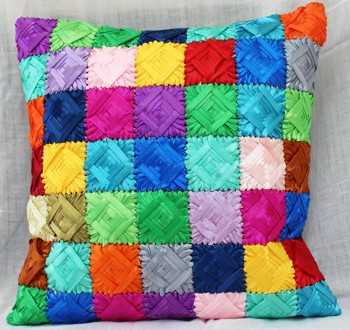 Easy Pattern Ribbon Embroidery Ribbon Work Cushion Cover