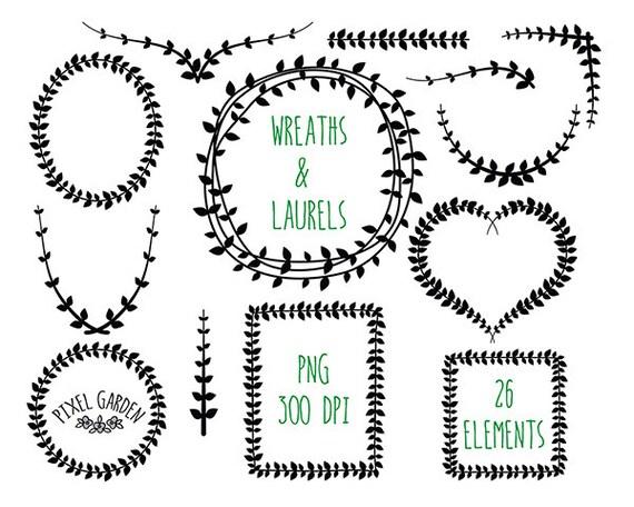 Digital Laurel Wreaths Clip Art. Black Wreaths Set. Vine
