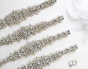 Rhinestone Bridal Belt | Silver Wedding Belt Sash | Crystal Wedding Sash | THE MILLIE