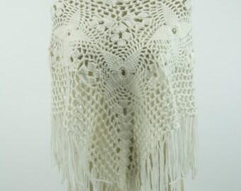 Women's White Crochet Fringe Poncho